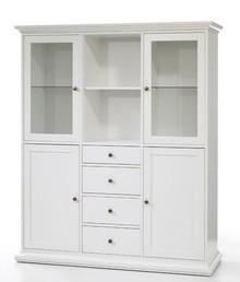 Romantyczny kredens PARIS • dostępny w kolorze białym • szeroka kolekcja mebli • stylizowane metalowe uchwyty • konkurencyjna cena • dobrze...