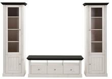 Biało - czarny romantyczny salon Monaco Materiał drewno sosnowe bielone Kolor biały/czarny Wymiary Szafka TV wysokość: 49 cm szerokość: 145 cm...
