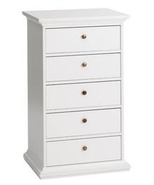 Romantyczna biała komoda PARIS 5 • dostępna w kolorze białym • szeroka kolekcja mebli • stylizowane metalowe uchwyty • konkurencyjna cena •...