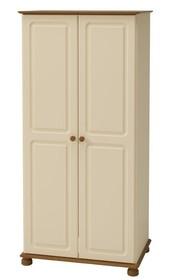 Romantyczna kremowa szafa Richmond 2-drzwiowa • ciepły kremowy kolor na mdf • wykończenia z sosny bejcowanej – lakierowanej • lekka forma kolekcji...