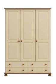 Romantyczna kremowa szafa Richmond 3-drzwiowa • ciepły kremowy kolor na mdf • wykończenia z sosny bejcowanej – lakierowanej • lekka forma kolekcji...