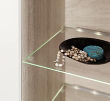 - zasilacz z włącznikiem<br />- 2x oświetlenie LED do szklanych półek<br />-przewody łączące z wtyczkami
