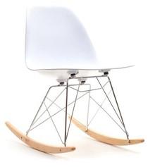 Krzesło bujane MPC ROC - biały/buk