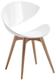 Stelaż krzesła wykonany jest z drewna bukowego lub wybarwianego na wenge. Siedzisko krzesła jest tapicerowane w tkaninę, eko skórę lub skórę miękką....