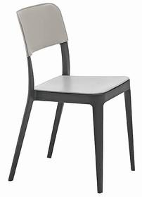Nowoczesne lekkie krzesło NENE S CU z siedziskiem i oparciem obszytym skórą naturalną utwardzaną, skórą regenerowaną. Stelaż...
