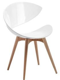 Stelaż krzesła wykonany jest z drewna bukowego lub wybarwianego na wenge. Siedzisko krzesła wykonane zostało z masy plastycznej nieprzezroczystej...