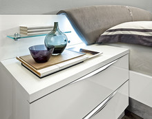 """Nowoczesna szafka nocna ONDA w kolorze białym lub orzechu włoskiego """"canaletto"""", która była lakierowane na wysoki połysk, świetnie oddaje..."""