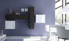 Włoska meblościanka CUBE została starannie wykonana z płyty MDF. Jedna szafka pozioma i dwie kwadratowe były precyzyjnie lakierowane w kolorze miodowym....