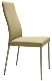 Krzesło NAOMI TS,stelaż w chromie bądź metalowy malowany na kolor aluminium, biały lub piaskowy.Siedzisko i oparcie krzesła obszyte jest:<br...