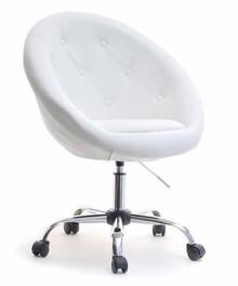 Fotel z ekoskóry LOUNGE 4 - biały/chrom