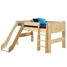 Łóżko piętrowe niskie ze zjeżdżalnią STEENS FOR KIDS - sosna lakierowana