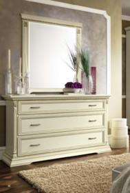 Włoskie lustroTREVISO NIGHT, którego rama została wykonana z jesionu w kolorze białym z efektem mebla postarzanego, lub wybarwiana na kolor...