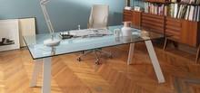 Stół TORONTO z blatem szklanym oraz klikoma opcjami podstawy: - metalowej, malowanej na biało lub w kolorze satynowym, - drewnianej, w kolorze dębu...