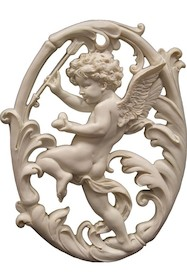 Efektowna, biała, naścienna ażurowa płaskorzeźba przedstawiającaAnioła ze strzałąto przepiękny element dekoracyjny.Ozdoba...
