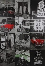 """Oryginalny parawan 3 segmentowy z motywem """"Route 66""""."""
