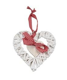 Ozdoba wisząca Białe Serce Wiklinowe
