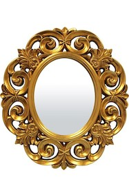 Lustro owal ażurowa rama złota