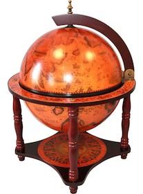 Stylizowany barek w kształcie globusa. Konstrukcja wsparta na czterech drewnianych, toczonych nogach. Kopuła uchylana.