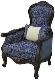Fotel tapicerowany stylizowany niebieski