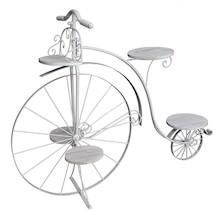 Piękny, duży, metalowy kwietnik w kolorze białym w kształcie prekursora dzisiejszych rowerów - Bicykla. Kwietnik z pięcioma stanowiskami dla roślin;...
