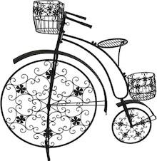 Piękny, duży, metalowy kwietnik w kolorze czarnym w kształcie prekursora dzisiejszych rowerów - Bicykla. Kwietnik z trzema stanowiskami dla roślin;...