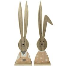Estetyczne drewniane figurki królików wykonane ze sklejki. Bardzo długie uszy i kolorowe ubranka tworzą wesołą ozdobę pasującą do wystroju...