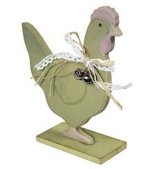 Drewniane, płaskie figury przedstawiające kury i koguty. Postacie na nóżkach idealne do ustawienia jako dekoracja pomieszczenia. Zwierzęta udekorowane...