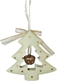 Pięknie wykonane wiszącechoinki w kolorze ecru z dzwoneczkamito idealne ozdoby na świąteczną choinkę. Zestaw zawiera 6 sztuk.
