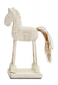 Postać konika na nieproporcjonalnie cienkich nóżkach stwarza wesołą figurkę, idealną do chłopięcego pokoju. Koń wyrzeźbiony z drewna,z...
