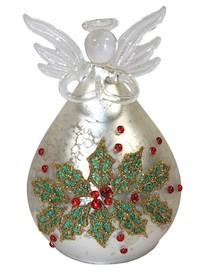 Szklana figurka przedstawiająca aniołka w okazałej szerokiej sukni to nic innego jak oryginalna bombka; ozdoba świątecznej choinki. Piękne wykonanie...