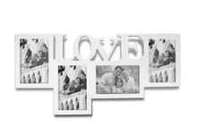 Pomysłowa i bardzo nowoczesna ramka na zdjęcia z miejscem na cztery fotografie i napisem LOVE będzie znakomitym rozwiązaniem przede wszystkim do pokoju...