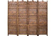 Piękny, drewniany, czterosegmentowy parawan. Całość ozdobiona motywami afrykańskimi.
