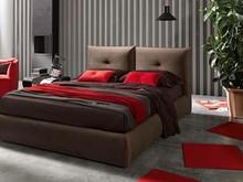 """Włoskie stylowe łóżko """" Java """". Charakteryzuje się wysokim wezgłowiem w kształcie dwóch poduch, estetycznie wykończonych na..."""