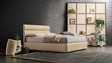 """Tapicerowane łóżko """" Sir """" z nowoczesnym wezgłowiem z poziomymi przeszyciami i miekkim wypełnieniem.Rama wykonana z..."""
