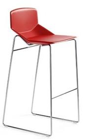 Stelaż nieregulowany o stałej wysokości 72cm do siedziska. Chromowany lub malowany na kolor czarny. Siedzisko jedno lub dwukolorowe.<br...