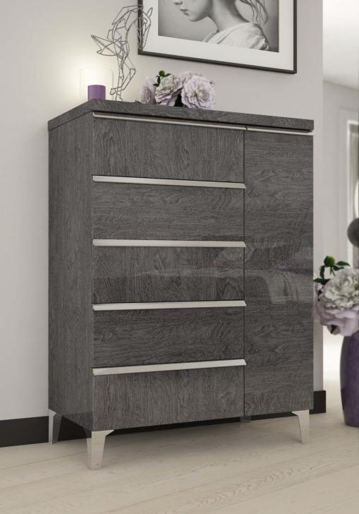 Status Elite Grey Birch Modern Italian Bedroom Set: SZUFLADOWA ELITE GREY, Status