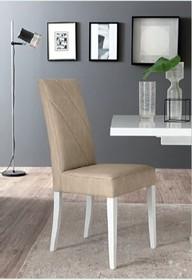 Krzesło LISA WHITE, nozki wykonane z drewna i lakierowane na kolor biały. Oparcie i siedzisko wykonane ze sklejki i podklejone sprężystą pianką, a...
