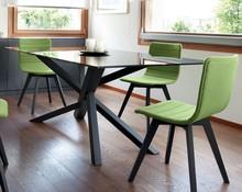 TREE to stół prostokątny, stworzony z drewna jesionu. Blat stołu został zrobiony ze szkła hartowanego w dwóch kolorach.<br...