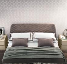 Łóżko ALTEA 160/200cm z tapicerowną ramą i tapicerownym wezgłowiem tkaniną Nubuk. Ponadto wzglowie posiada opływowe kształty jest lekko...