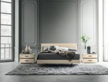 Łóżko ALTEA o powierzchni spania 180/200cm, wykonane z płyty laminowanej i lakierownae na wysoki połysk w kolorze kremowym. Wezgłowie jesst gięte...
