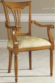 Włoskie krzesło SIENA DAY z podłokietnikami, wykonane z drewna lipowego i wybarwiane na kolor czereśni. Siedzisko krzesła jest tapicerowane wysokiej...