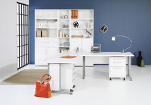 Zestaw mebli do biura PRIMA 2 - biały/szary