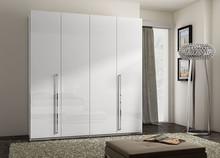 Szafa 4- drzwiowa AURA WHITE wykonana z płyty laminowanej w całości lakierowana na wysoki połysk w kolorze białym. Uchwyty są podłużne metalowe i...