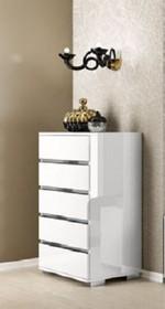 Komoda wysoka 5- szufladowa DREAM WHITE wykonana z płyty laminowanj i w całości lakierowana na wysoki połysk w białym kolorze. W szufladach zastosowano...