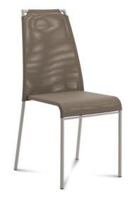 Krzesło Cloud-A wyprodukowane przez Domitalia.  Krzesło z chromowanym stelażem w całości tapicerowane z odsłoniętymi górnymi rogami oparcia....