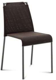 Krzesło Cloud-B wyprodukowane przez Domitalia. Krzesło z chromowanym stelażem w całości tapicerowane z odsłoniętymi górnymi rogami oparcia....