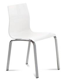 """Krzesło GEL-R wyprodukowane przez Domitalia.  Krzesło posiada lakierowany, stalowy stelaż oraz siedzenie wraz z oparciem na wzór """"muszli""""..."""