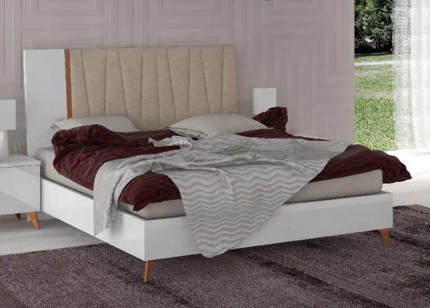 łóżko 180200cm Vega White Tapicerowane Wezgłowie