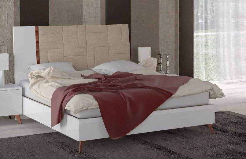 łóżko 160200cm Sirio White Tapicerowane Wezgłowie