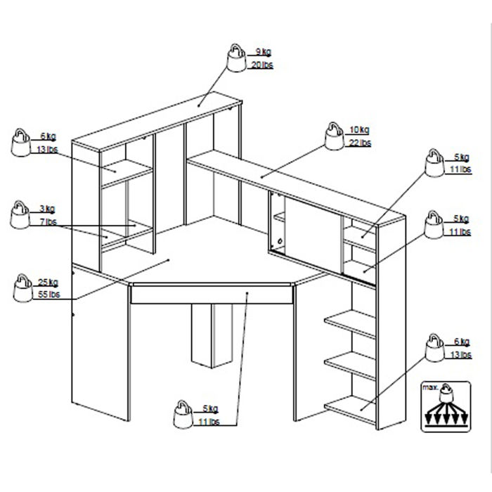 Genialny Function Plus biurko narożne z regałem, Tvilum - Meble - sklep PV85